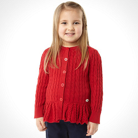J by Jasper Conran - Designer girl+s red cable knitted cardigan
