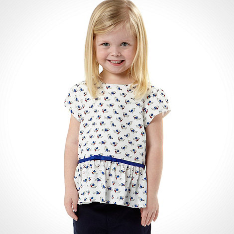 J by Jasper Conran - Designer girl's white bird print peplum top