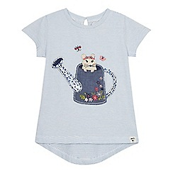 Mantaray - Girls' blue watering can mouse applique t-shirt