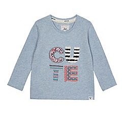 Mantaray - Girls' blue 'Cute' embroidered sweater