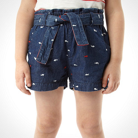 J by Jasper Conran - Girl+s blue embroidered fish shorts