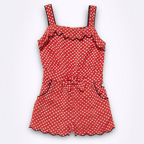 J by Jasper Conran - Designer girl+s red scalloped floral playsuit