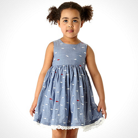 J by Jasper Conran - Designer girl+s blue chambray fish dress