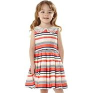 Designer girl's peach striped party dress