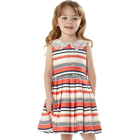 J by Jasper Conran - Designer girl+s peach striped party dress
