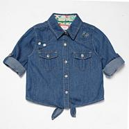 Designer girl's blue tie-front denim shirt
