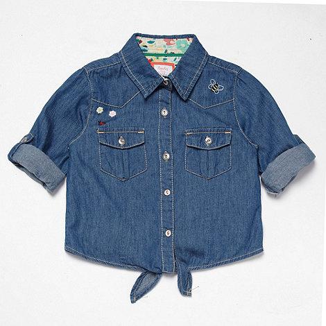 RJR.John Rocha - Designer girl+s blue tie-front denim shirt