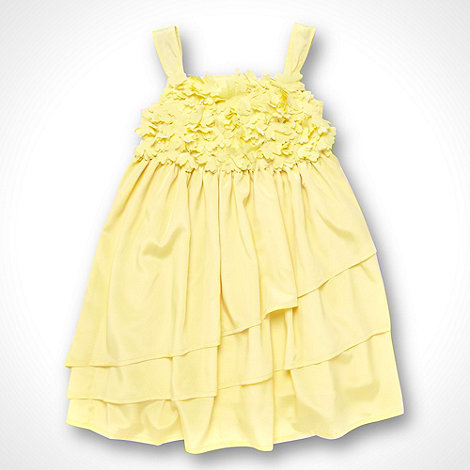 RJR.John Rocha - Designer girl+s yellow flower applique dress