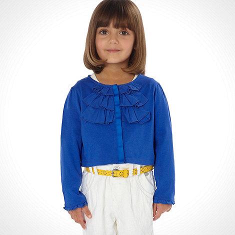 RJR.John Rocha - Designer girl+s blue woven frill jersey cardigan