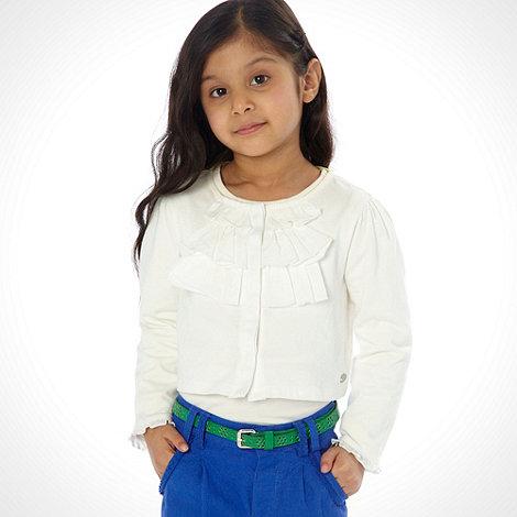 RJR.John Rocha - Designer girl+s white frilly trimmed jersey cardigan