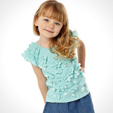 RJR.John Rocha - Designer girl+s pale green ruffle sleeved flower top