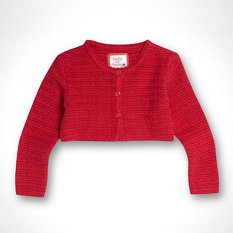 RJR.John Rocha - Designer girl+s dark pink crochet knit cardigan