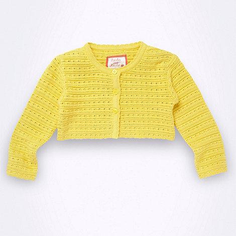 RJR.John Rocha - Designer girl+s yellow crochet knit cardigan