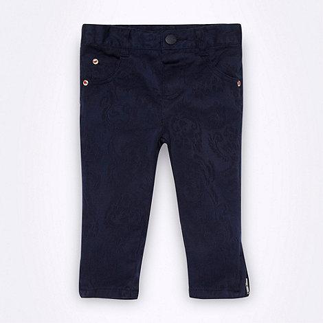 RJR.John Rocha - Designer girl+s navy jacquard trousers