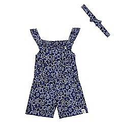 Mantaray - Girls' navy tiered floral print playsuit and head band set