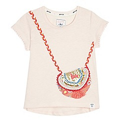 Mantaray - Girls' light pink embellished handbag t-shirt