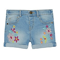Mantaray - Girls' blue floral embroidered denim shorts