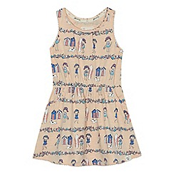 Mantaray - Girls' light pink beach scene print dress