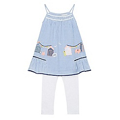 Mantaray - Girls' blue striped embroidered top and leggings set