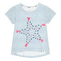 Mantaray - Girls' blue and white striped starfish print t-shirt