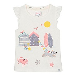 Mantaray - Girls' white beach scene embroidered t-shirt