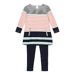 J by Jasper Conran - Girls' multi-coloured striped tunic and navy leggings set