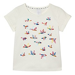 J by Jasper Conran - Girls' cream sequinned t-shirt
