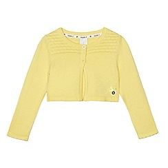 J by Jasper Conran - Girls' yellow textured yoke cardigan
