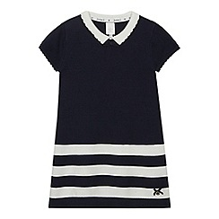 J by Jasper Conran - Girls' navy ribbed stripe knit dress
