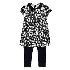 J by Jasper Conran - Girls' navy ditsy print tunic and leggings set