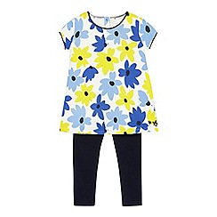 J by Jasper Conran - Girls' multi-coloured flower print top and leggings set