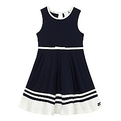 J by Jasper Conran - Girls' navy ponte striped hem dress