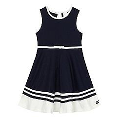 J by Jasper Conran - Girls' navy ponte striped hem dress