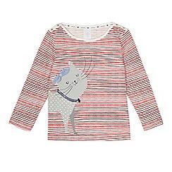 J by Jasper Conran - Girls' red striped cat print top