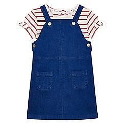 J by Jasper Conran - Girls' blue denim pinafore and striped t-shirt set