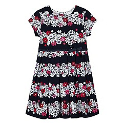 J by Jasper Conran - Girls' navy floral striped dress