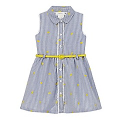 J by Jasper Conran - Girls' blue striped embroidered dress
