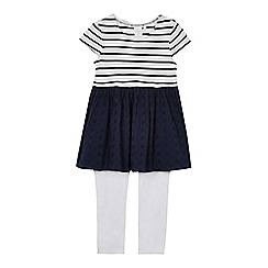 J by Jasper Conran - Girls' navy and white broderie dress and leggings set