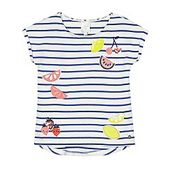 J by Jasper Conran - Girls' white and blue striped fruit applique t-shirt