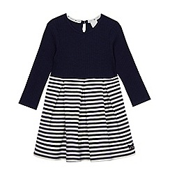 J by Jasper Conran - Girls' navy striped ribbed dress