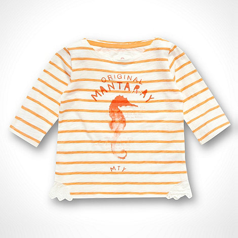 Mantaray - Girl+s orange striped seahorse top