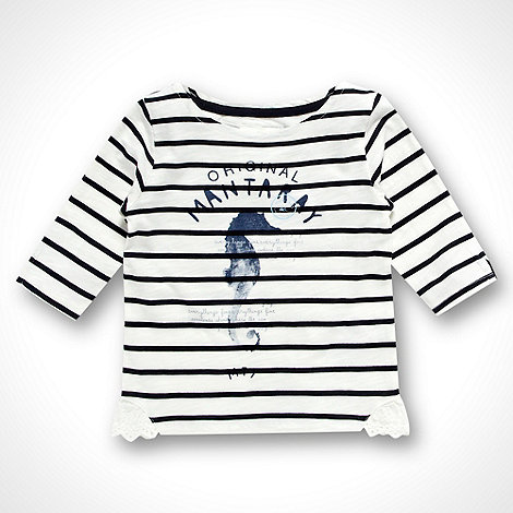 Mantaray - Girl+s navy striped seahorse top