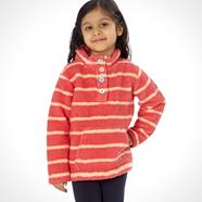 Girl's pink striped teddy fleece