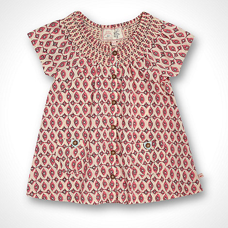Mantaray - Girl+s pink tile patterned shell top