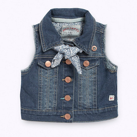 Mantaray - Girl+s blue denim gilet and scarf