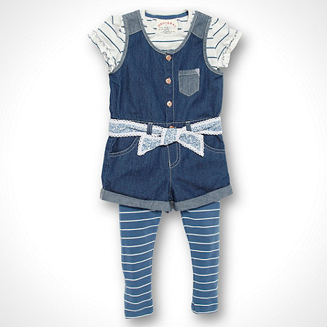 Mantaray - Girl+s blue striped three piece suit