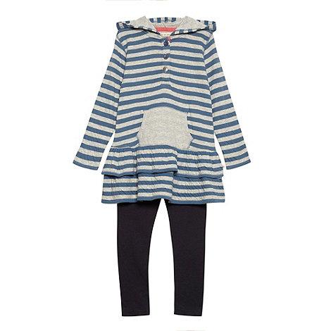 Mantaray - Girl+s blue hooded tunic and leggings set
