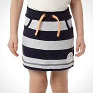 Girl's navy striped sweat skirt