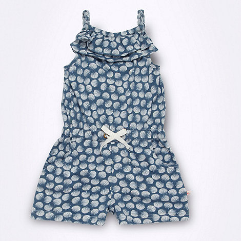 Mantaray - Girl+s blue printed jersey playsuit