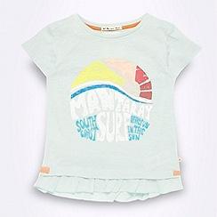 Mantaray - Girl's pale green 'Surf' frilly hem t-shirt